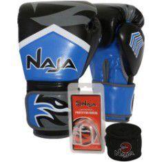 Kit Luvas Muay Thai - Naja Extreme com Bandagem e Bucal - Preto/Azul- 14 OZ  - Loja do Competidor