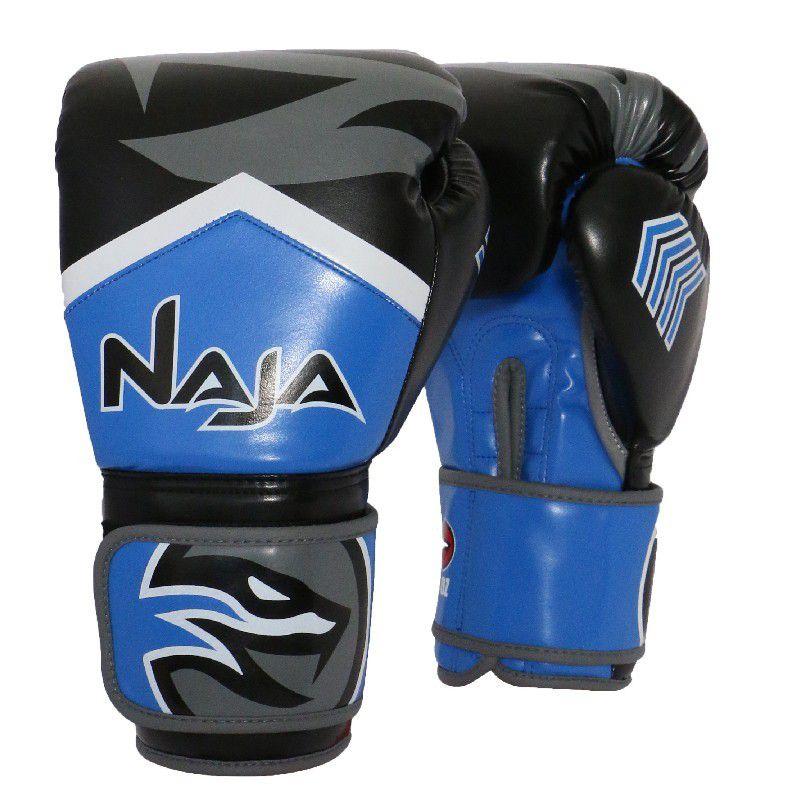 Luvas Boxe / Muay Thai - Naja New Extreme com Bandagem e Bucal - Preto/Azul- 12/14 OZ .  - Loja do Competidor
