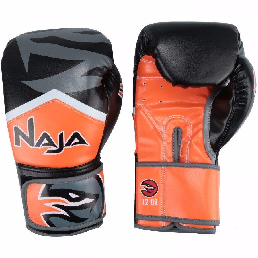 Luvas Boxe / Muay Thai - Naja New Extreme - Preto/Laranja - 12/14 OZ -