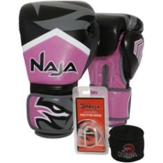 Luvas Boxe / Muay Thai - Naja New Extreme com Bandagem e Bucal - Preto/Rosa- 12/14 OZ .