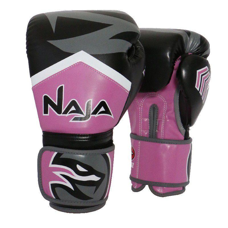 Luvas Boxe / Muay Thai - Naja New Extreme com Bandagem e Bucal - Preto/Rosa- 12/14 OZ .  - Loja do Competidor