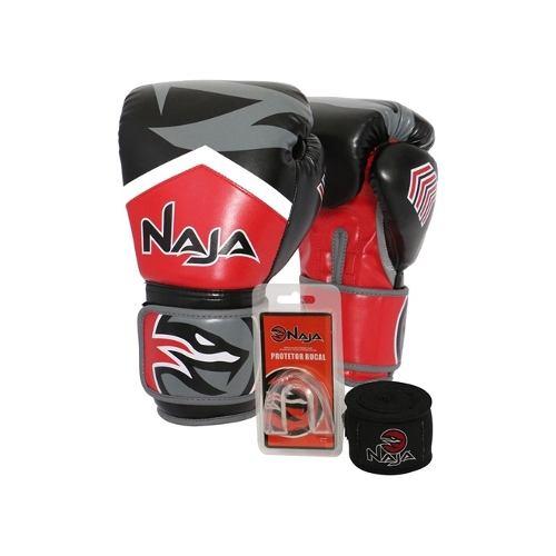 Luvas Boxe / Muay Thai - Naja New Extreme com Bandagem e Bucal - Preto/Vermelho- 12/14 OZ .