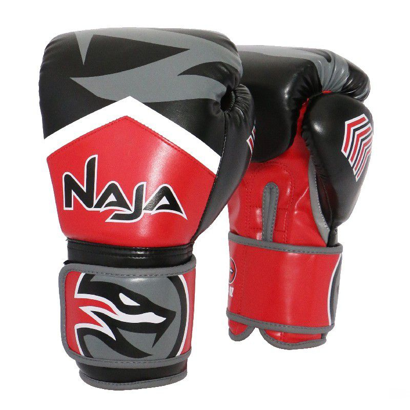 Luvas Boxe / Muay Thai - Naja New Extreme com Bandagem e Bucal - Preto/Vermelho- 12/14 OZ .  - Loja do Competidor