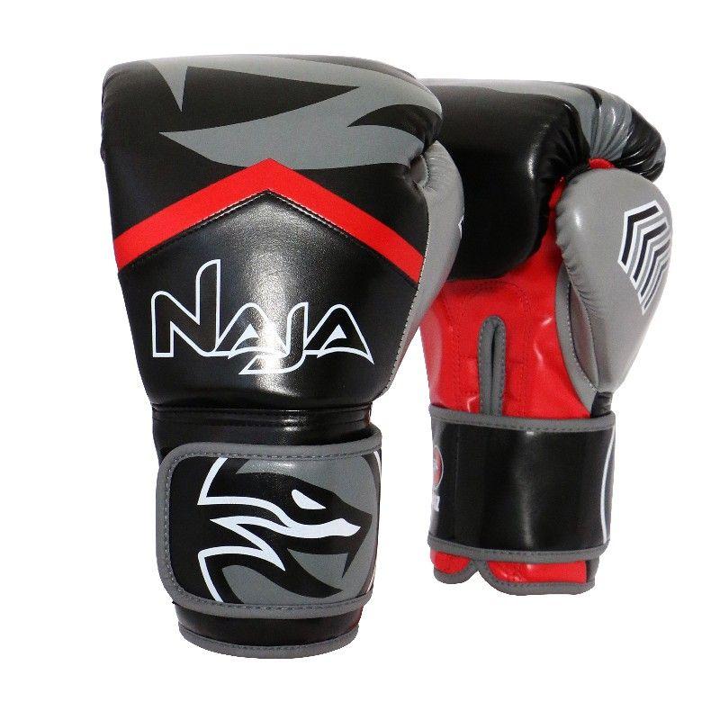 Luvas Boxe / Muay Thai - Naja New Extreme-  Preto/Vermelho- 12/14 OZ