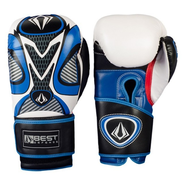 Luvas Boxe / Muay Thai - Practice - Best Defense - Preto/Azul- 10/12/14OZ