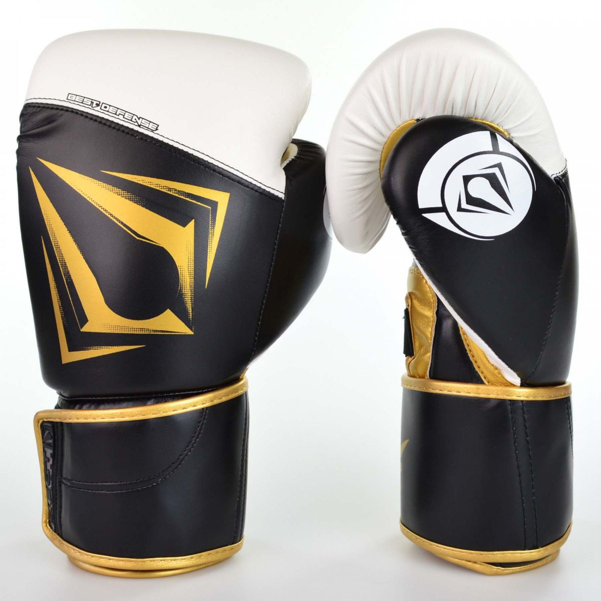 Luvas Boxe / Muay Thai - Spartan - Best Defense - Preto / Branco - 10/12/14OZ