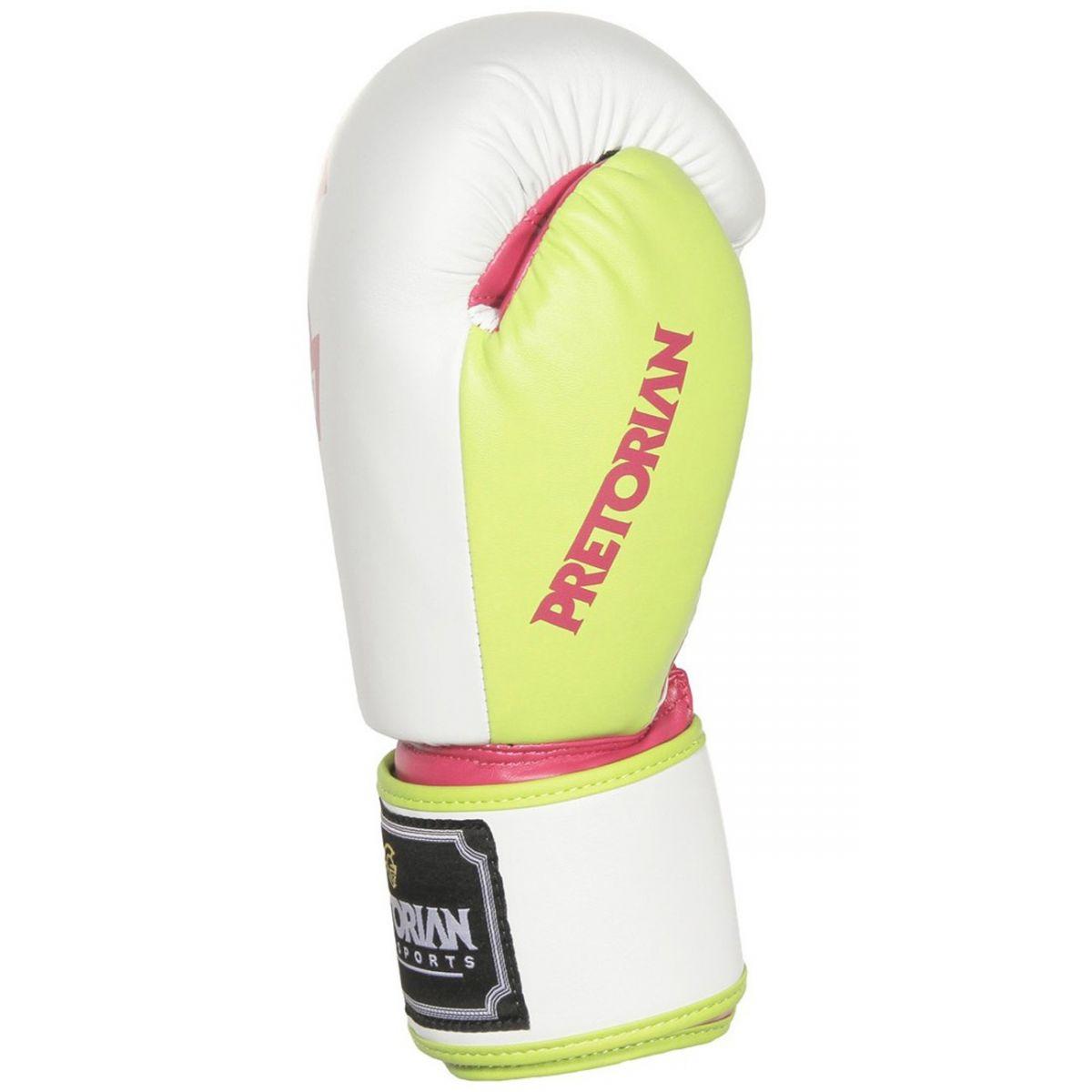 Luvas Boxe / Muay Thai - Training Series - Rosa/Branco/Verde- Pretorian - 10/12/14/16 OZ .  - Loja do Competidor