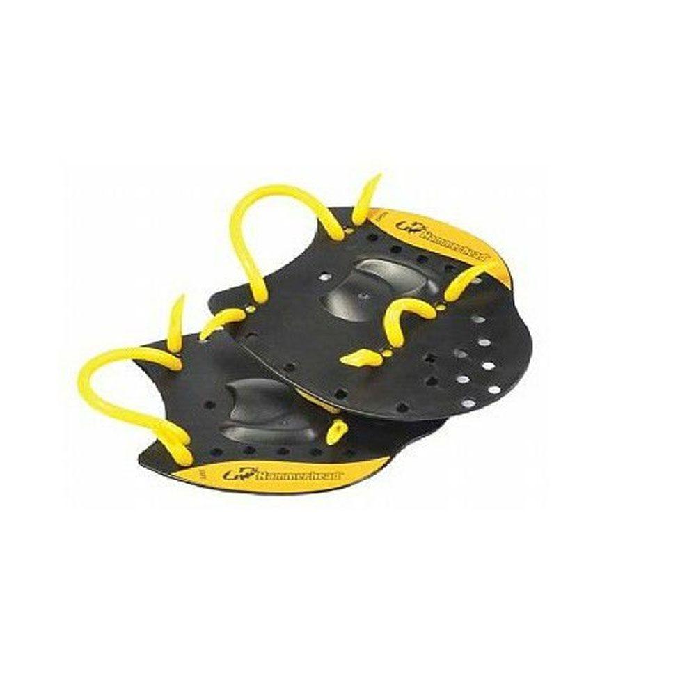 Palmar de Natação - Elite Hand Paddle - Preto/Amarelo - Hammerhead  - Loja do Competidor