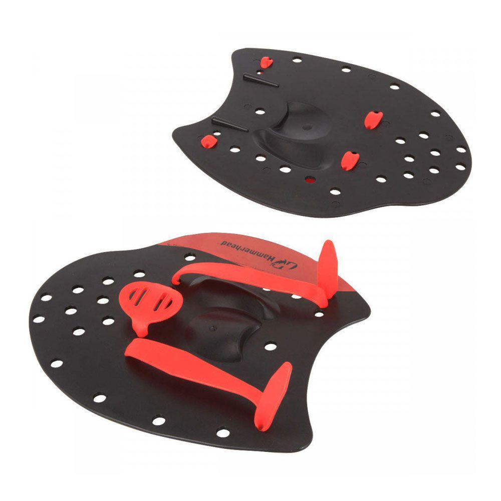 Palmar de Natação - Elite Hand Paddle - Preto/Vermelho- Hammerhead  - Loja do Competidor