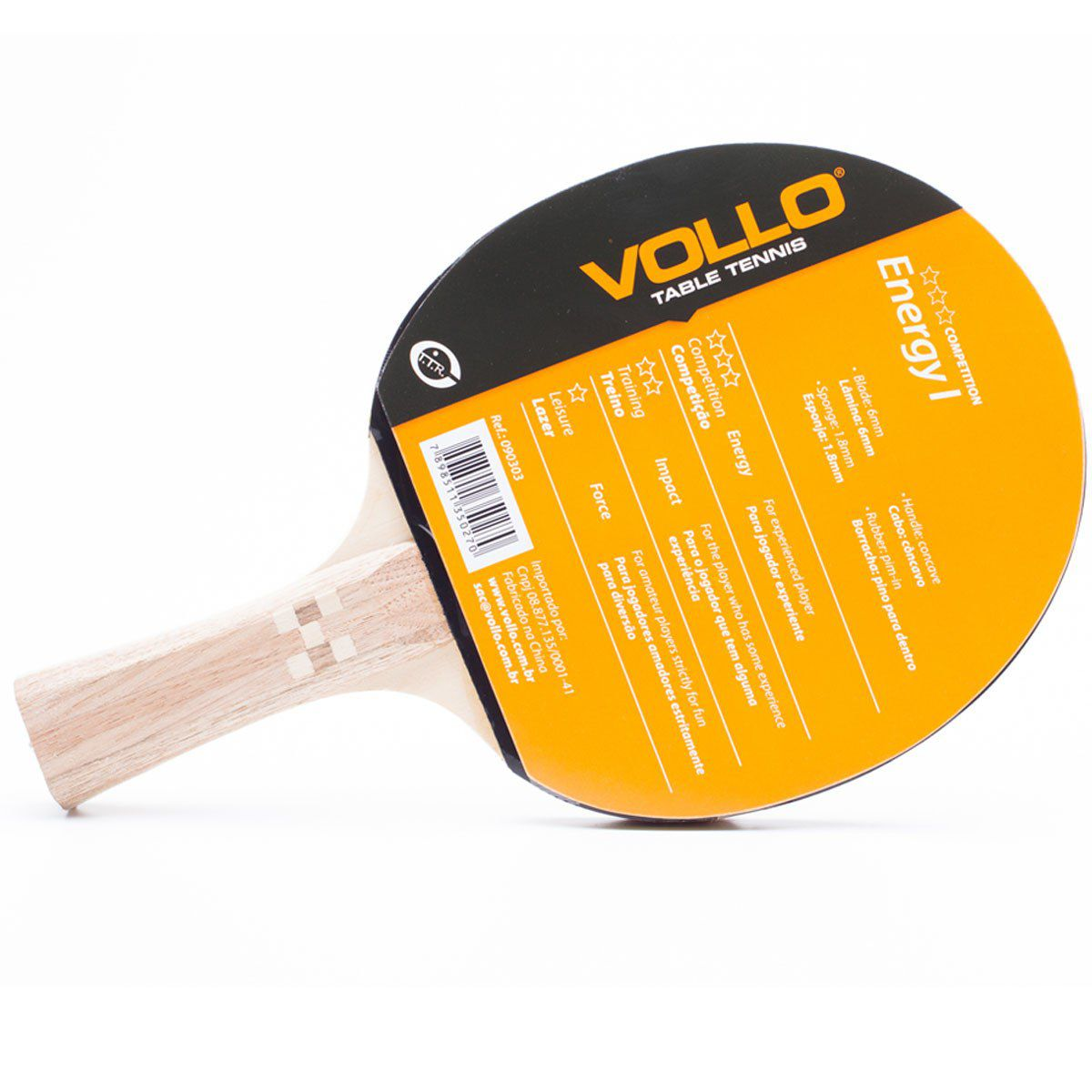Raquete Tenis de Mesa / Ping Pong - Vollo Energy I - 090303  - Loja do Competidor