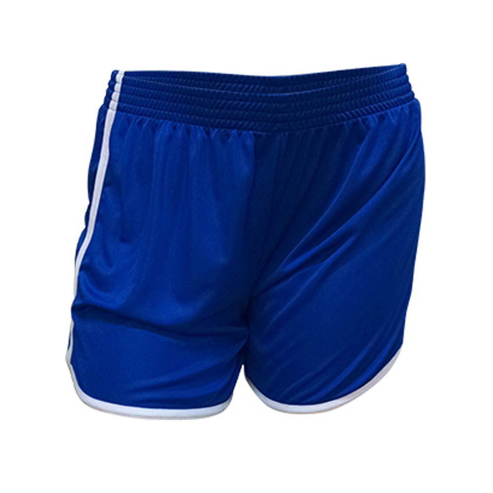Kit com 16 Shorts Calção Musculação Fitness - Ferrara - Liso - Azul/Branco- Feminino - Kanga