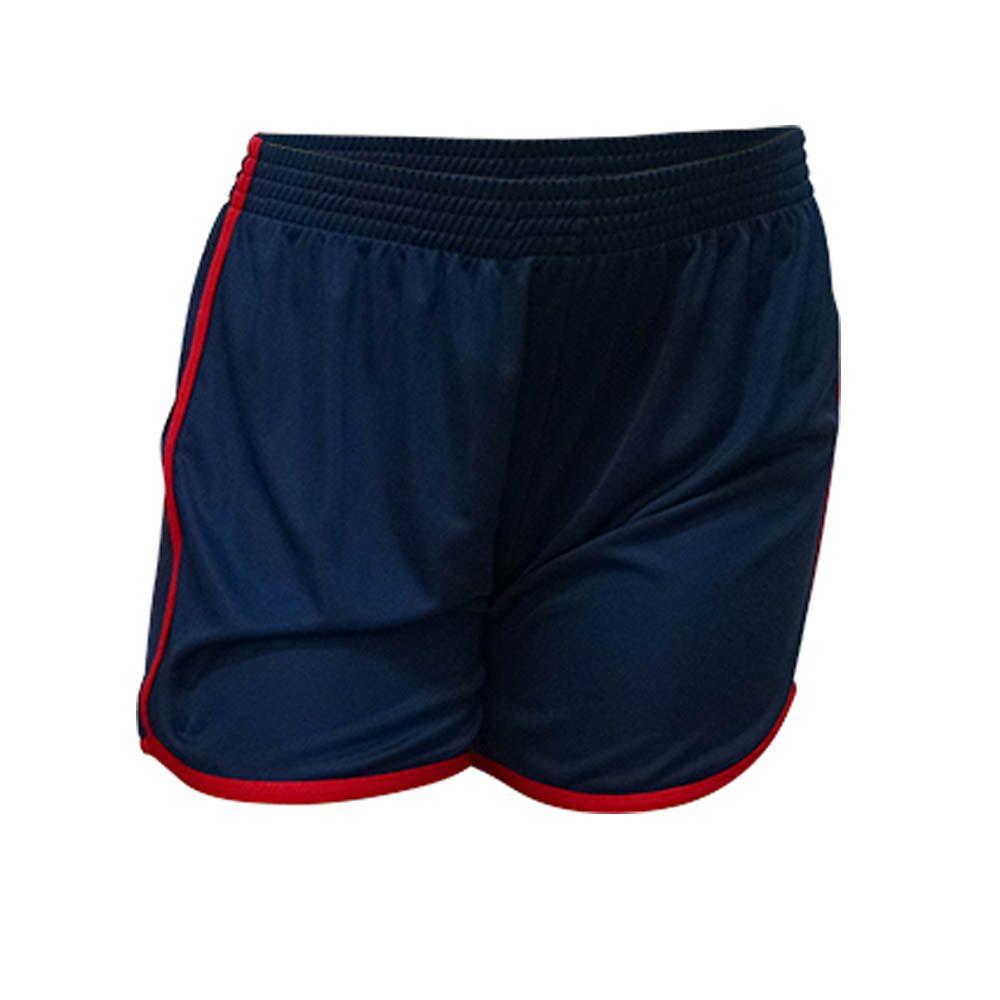 Kit com 16 Shorts Calção Musculação Fitness - Ferrara - Liso - Azul/Verm - Feminino- Kanga