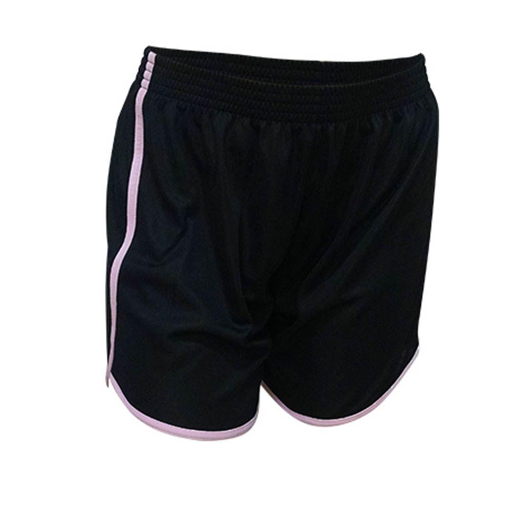 Kit com 16 Shorts Calção de Musculação Fitness- Ferrara - Liso - Preto/Rosa- Feminino- Kanga