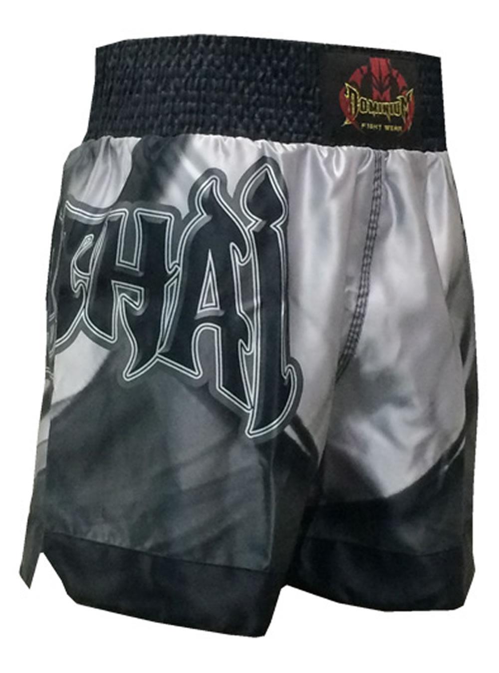 Short Calção Muay Thai - Cetim - 2798 - Prata/Preto