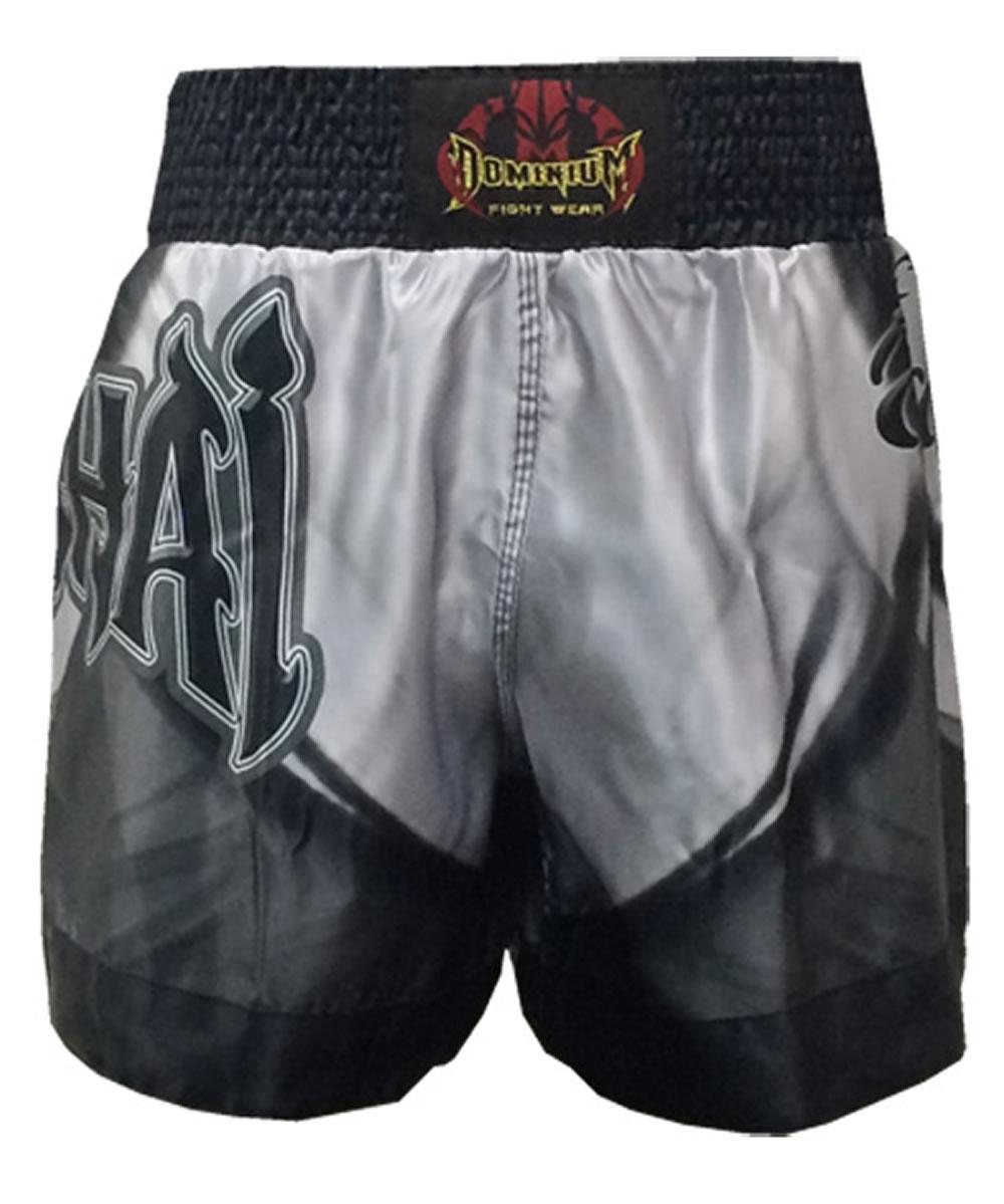 Short Calção Muay Thai - Cetim - 2798 - Prata/Preto  - Loja do Competidor