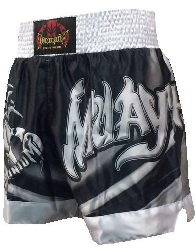 Short Calção Muay Thai - Cetim - 2798 - Preto/Branco -  Dominium  - Loja do Competidor