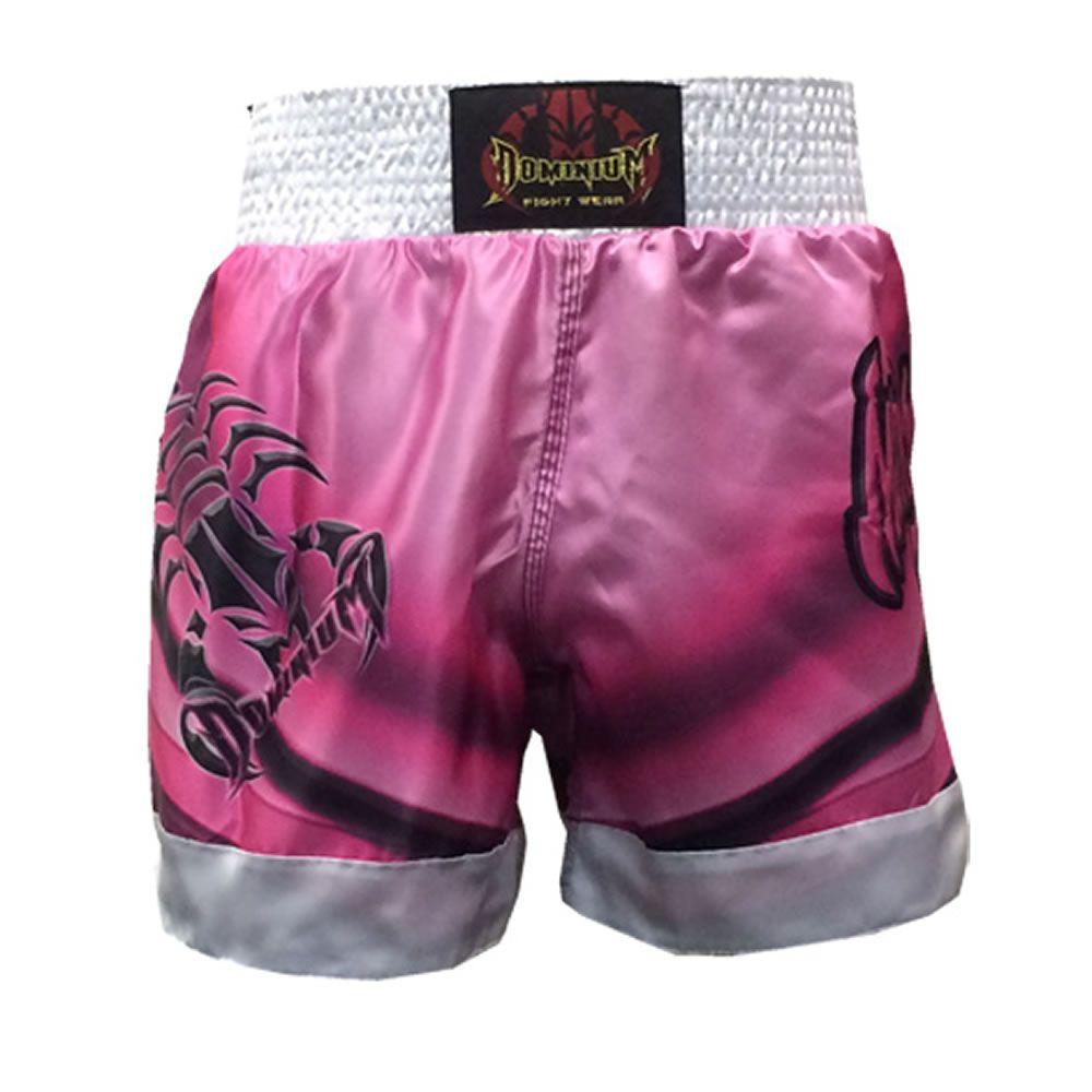 Short Calção Muay Thai - Cetim - 2798 - Rosa/Branco -  Dominium  - Loja do Competidor