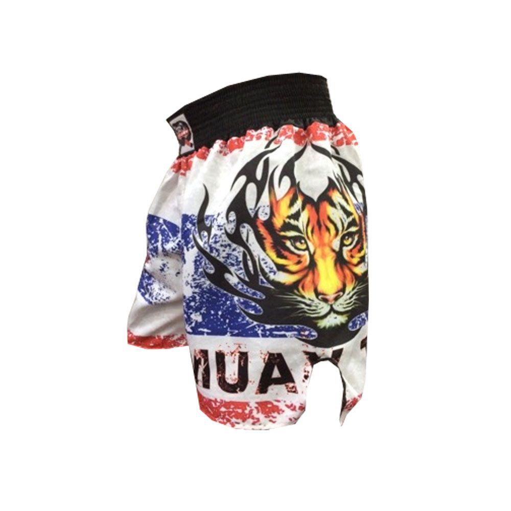 Short Calcao Muay Thai- Fury -  Branco/Vermelho/Azul - Duelo Fight