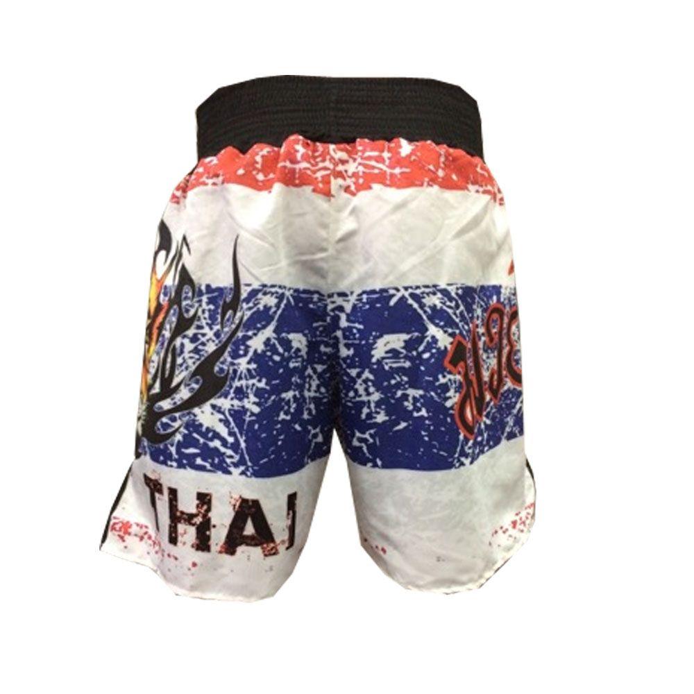 Short Calcao Muay Thai Fury - Branco/Vermelho/Azul - Duelo Fight  - Loja do Competidor
