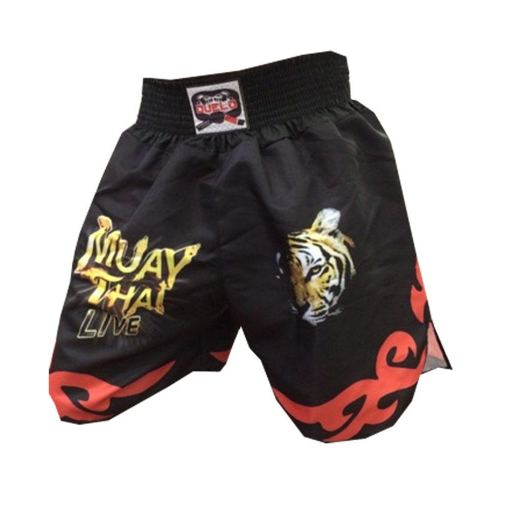 Short Calcao Muay Thai- Live -  Preto/Vermelho - Duelo Fight