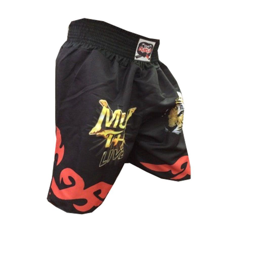 Short Calcao Muay Thai Live - Preto/Vermelho - Duelo Fight  - Loja do Competidor