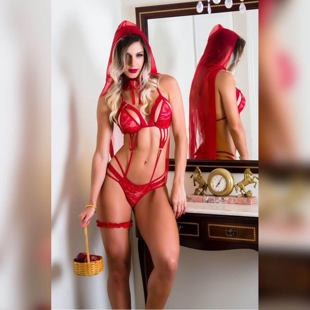Fantasia Erótica body chapeuzinho vermelho - Garota veneno