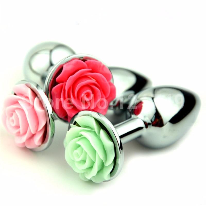 Plug Anal Grande em Alumínio com Flor Lápidada em Sua Base