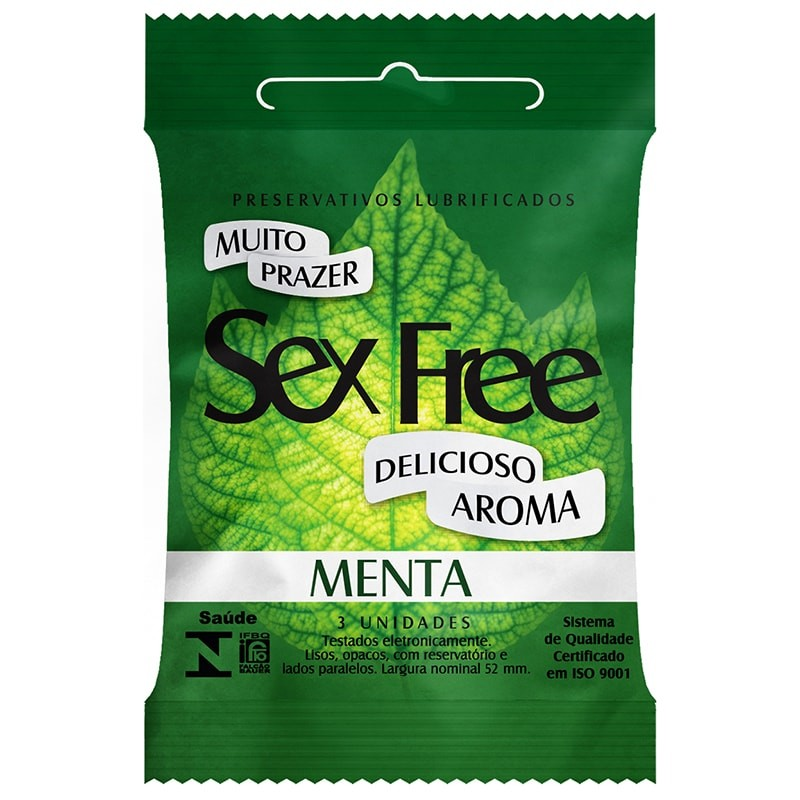Preservativo Lubrificado Sex Free - Aroma Menta com 3 unidades