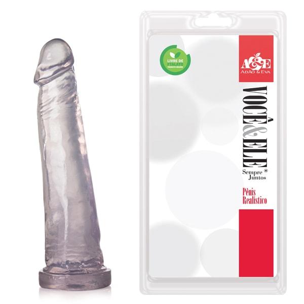 Pênis Realístico sem Vibrador Translucido 18,5 cm