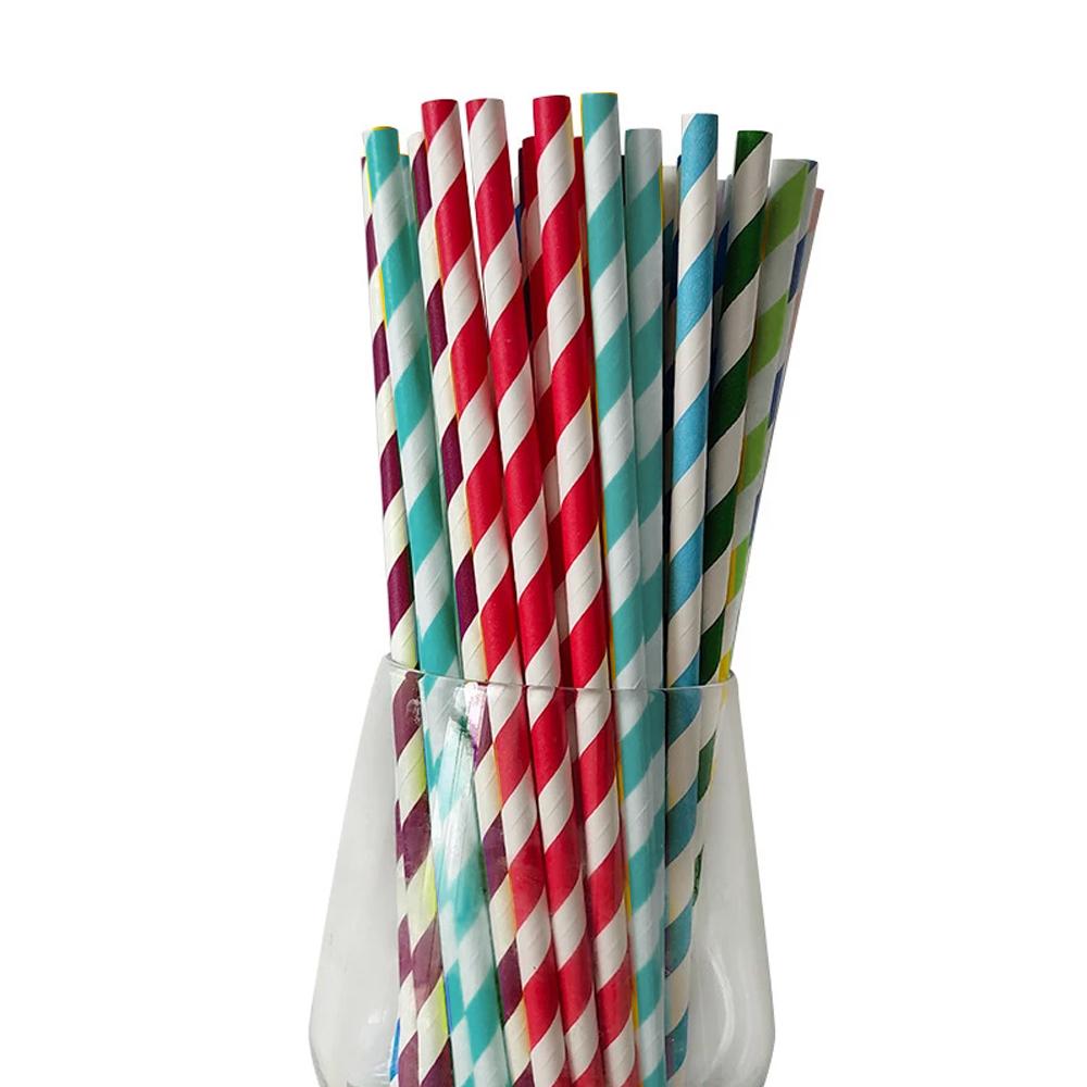 100 Canudos De Papel Listrados Coloridos Para Topo De Bolo