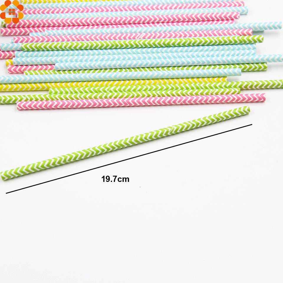 100 Canudos papel biodegradável Listras decorado