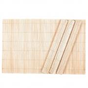4 Jogo Americano Mesa Cozinha Em Bambu Jantar 43cm x 30cm