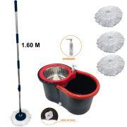 Balde Ultra spin mop Centrifuga Inox cabo 1.60m + 3 Refis Microfibra