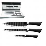 Conjunto de 3 Facas Tubarão Inox Corneta Legumes Cozinha