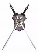 Espadas Duplas 84cm Decorativas Em Aço Com Suporte De Parede