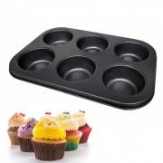Forma Cupcake Antiaderente Pão De Queijo 6 Cavidades Teflon