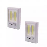 Kit 2 Luminárias Á Pilha Regulável De Emergência Compacta