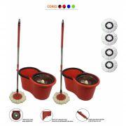 kit Com 2 Baldes Spin Mop Centrifuga Inox Esfregão 1.30 + 4 refis