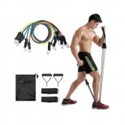 Kit Elásticos Musculação 10 Peças Funcional Pilates Latex