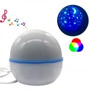 Luminária Giratória RGB Disco Projetor Música Bluetooth