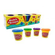 massinha de modelar e brincar atóxico com 4 cores - dm toys