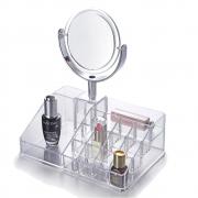 Organizador De Maquiagem Bandeja Transparente Com Espelho