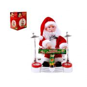 papai noel pianista boneco decorativo som luz movimento 19cm