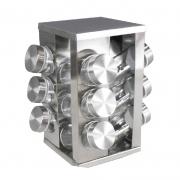 Porta Tempero Condimento de Aço Inox 12 Potes de Vidro