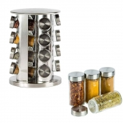 Porta Tempero Condimento Giratório Inox 16 Potes de Vidro