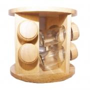 Porta Tempero Condimento Giratório Madeira 8 Potes de Vidro
