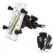 Suporte Garra Para Celular Moto Com Carregador Usb Universal