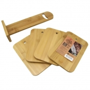 Suporte Kit 4 Tabuas Churrasco Bambu Servir Petiscos Clink