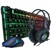Teclado Retroiluminado com HeadSet PC-006 RGB e Mouse Gamer