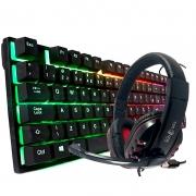 Teclado Retroiluminado QWERTY K200 e Headset PC-002 Gamer